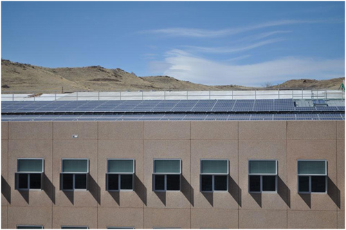 On the roof is a large photovoltaic system that supplies much of the building's energy needs. Currently, a second system is being installed on the parking lot pergolas